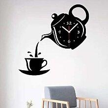 Horloge murale 3D en acrylique pour bouilloire,