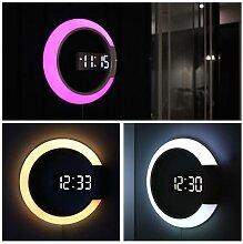 Horloge murale 3D LED, numérique, alarme, miroir