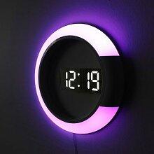 Horloge murale 3D LED numérique, alarme miroir,