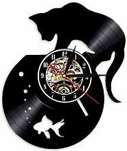 Horloge murale 3D suspendue avec chat attrapeur de