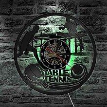 Horloge Murale 3D Tennis de Table Disque Vinyle