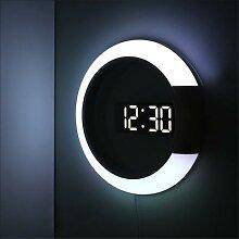Horloge murale à LED multifonctionnelle, réveil