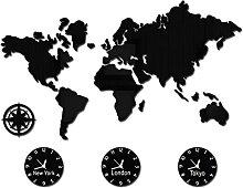 horloge murale Carte du monde DIY 3D Grande