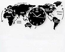 horloge murale - Carte du Monde, Salon Bureau