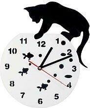 Horloge murale chat sur un bol de poisson |