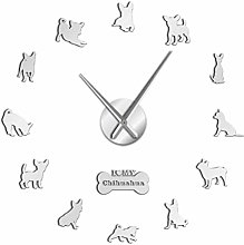 Horloge Murale Chihuahua 3D Bricolage Muet