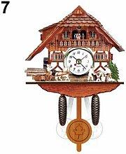 Horloge murale de coucou en bois, alarme