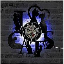 Horloge Murale de Disque Vinyle de Chaton,