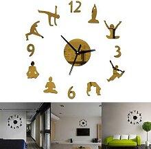 Horloge murale de Yoga pour chambre à coucher,