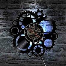 Horloge murale décorative en vinyle, engrenages