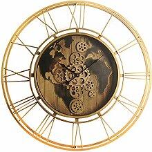 Horloge murale décorative vintage antique dorée