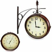 Horloge Murale Double Face Style Gare Vintage Ø