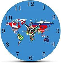 Horloge murale Drapeaux nationaux Carte du monde