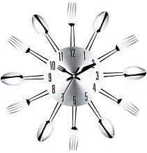 Horloge murale en acier inoxydable, couteau et