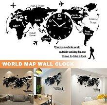 Horloge murale en acrylique, carte du monde,