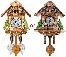 Horloge murale en bois antique avec coucou en