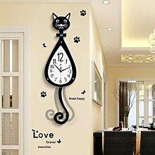 Horloge murale en bois de chat, décoration de