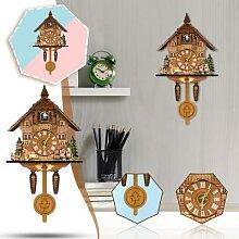Horloge murale en bois de coucou d'oiseau
