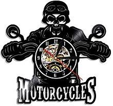 Horloge murale en vinyle avec crâne de motard,