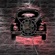 Horloge Murale en Vinyle rétro Voiture Disque