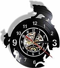 Horloge Murale Ennemi Naturel Chat Souris Art