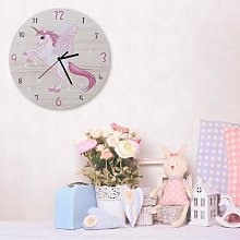 Horloge murale licorne rose de dessin animé,