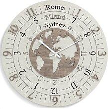 Horloge murale moderne ronde TIME ZONE en bois