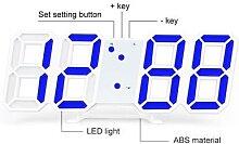 Horloge murale multifonction 3D à LED, alarme