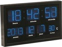 Horloge murale radio-pilotée à LED bleues