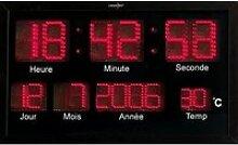 horloge murale radio-pilotée à led rouges