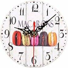horloge murale ronde numérique en bois pendule