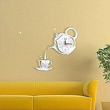 Horloge murale Théière créative Argent Or Black
