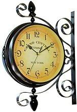 Horloge murale Vintage Double face en fer,