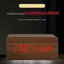 Horloge numérique LED en bois, alimentée par