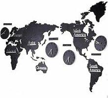 HORLOGE PENDULE LEY 22m Carte du Monde en Bois 3D