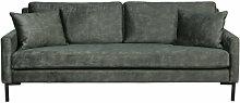HOUDA - Canape 3 places en aspect cuir gris/vert