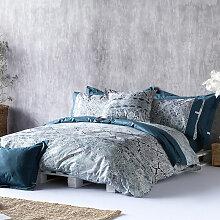Housse de couette ALAIN bleu/gris 155x220 cm -