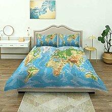 Housse de Couette, Carte du Monde géographie Pays