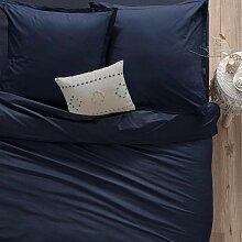 Housse de couette en coton, bleu encre 140x200 cm