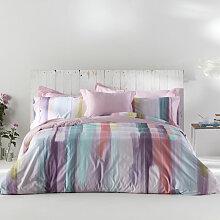 Housse de couette LOANE rose/violet/vert 155x220