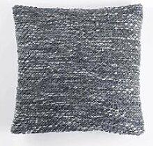 Housse de coussin polyester + encart tricot tweedy