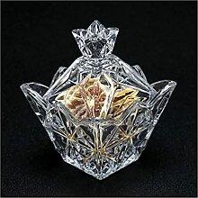HTian Bol de sucre en verre cristal vintage avec