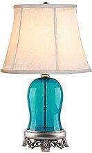 HTL Lampe de Table Bleu Verre Lampe de Chevet