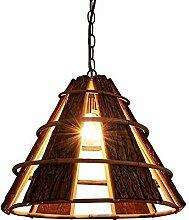 HTL Lustre Creative Creative Wooden Lampe Vintage