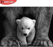 HUACAN – peinture de diamants 5D, ours carré