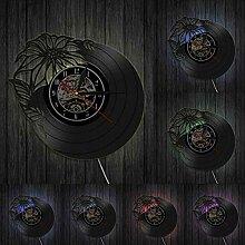 hxjie Horloge Murale Vintage en Vinyle,