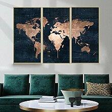 HXLZGFV 3 Pièces Carte du Monde Or Rose Affiches