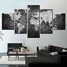 HXLZGFV 5 Panneaux Noir et Blanc Carte du Monde