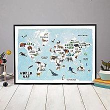HXLZGFV ABC planètes Carte du Monde Animal Photo