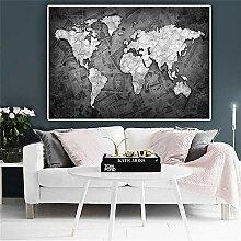 HXLZGFV Abstrait Noir et Blanc Carte du Monde